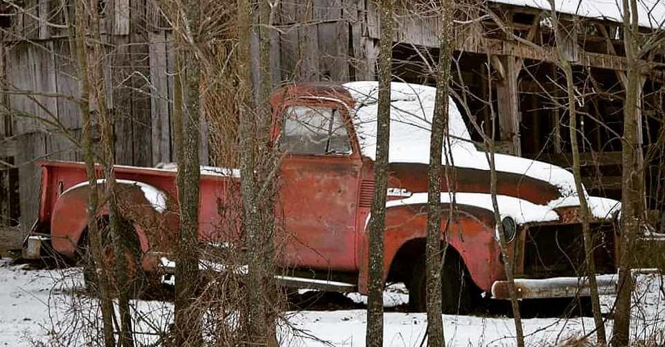 Snowy Barn & Red Truck